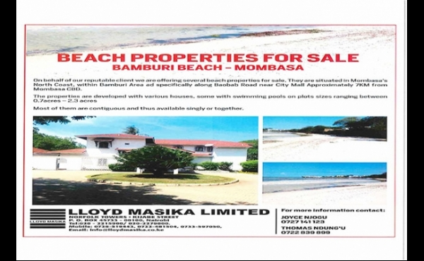 BEACH PROPERTIES FOR SALE - BAMBURI BEACH, MOMBASA